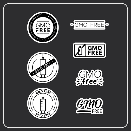 GMO free stickers on grey background. GMO free drawn isolated sign icon set. Healthy lettering symbol of gmo free. Иллюстрация