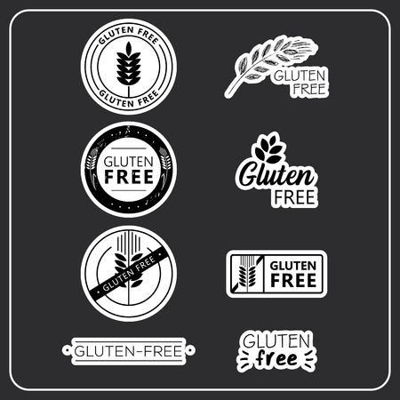 Gluten free drawn isolated stickers set. Healthy lettering symbol of gluten free. Иллюстрация