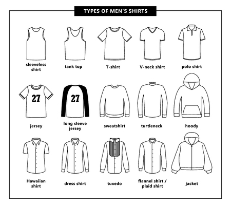 Types of mens shirts with names. Vector outline illustration. Set of mens T-shirts: jacket, tuxedo, dress shirt, hoody, jersey, sweatshirt, turtleneck, tank top, V-neck shirt, polo shirt, sleeveless Illustration