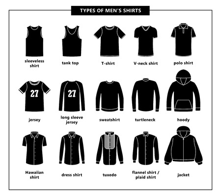 Types of men's shirts with names. Vector icon illustrations. Set of men's T-shirts: jacket, tuxedo, dress shirt, hoody, jersey, sweatshirt, turtleneck, tank top, V-neck shirt, polo shirt, sleeveless Illustration