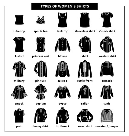 Types of womens shirts with names. Vector black icon illustration. Set of womens T-shirts: jacket, tube top, tank top, tuxedo, polo, tunic, sweatshirt, blouse, gypsy, turtleneck and other.
