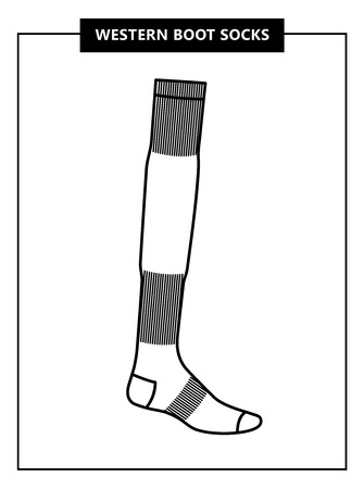 Western boot sock. Vector illustration. Linear and outline style.