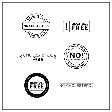No cholesterol icons on white background. Cholesterol free drawn isolated sign icon set. Healthy lettering symbol of no cholesterol.