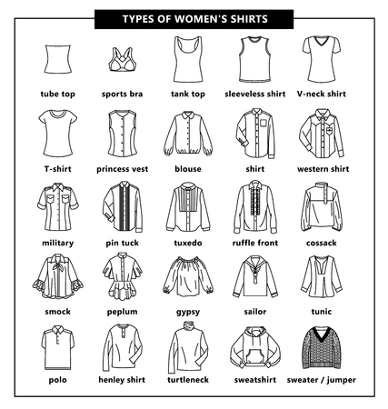 Types of womens shirts with names. Vector linear and outline illustration. Set of womens T-shirts: jacket, tube top, tank top, tuxedo, polo, tunic, sweatshirt, blouse, gypsy, turtleneck and other. Иллюстрация