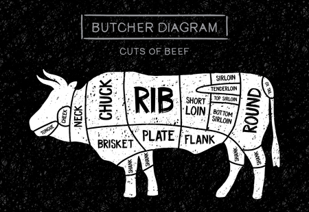 Póster Diagrama de carnicero de filetes de carne: pechuga, pierna, costilla, plato, flanco, solomillo, lomo corto, grupa, redonda, pierna en un dibujo de estilo vintage. Corte de ternera.