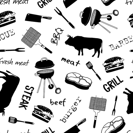 Pattern with icons and lettering: beef, steak, grill, meat knife, barbecue. Naive hand style.
