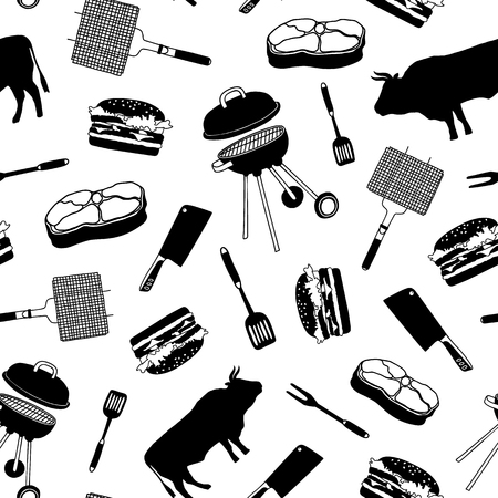 Pattern with icons: beef, steak, grill, meat knife, barbecue. Naive hand style. Butcher attributes. Vector illustration - Vector.