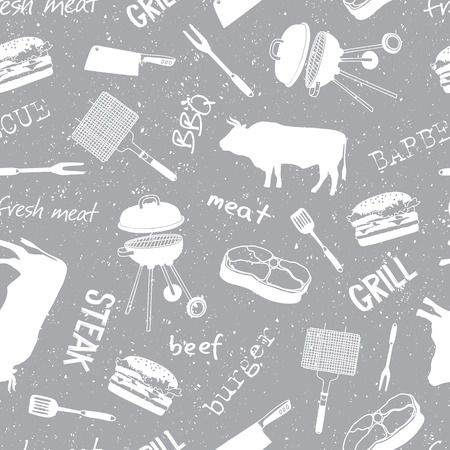 Pattern with icons and lettering: beef, steak, grill, meat knife, barbecue. Vintage style. Butcher attributes. Vector illustration - Vector. Illustration