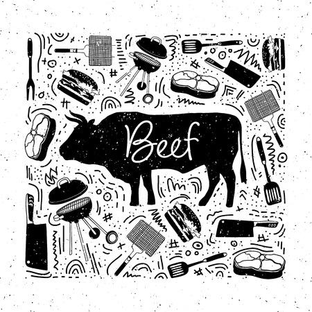 Isolated bull and icons: steak, grill, meat knife, barbecue with lettering beef for butcher shop, farmer market. Design template poster for steak, meat business, meat shop.Vintage style. Vector.