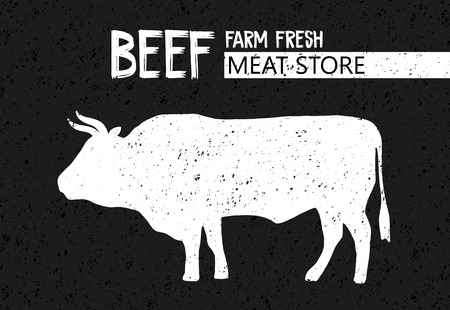 Vintage and retro print, poster for Butchery meat store with text, typography Beef, Meat Store, Farm fresh and bull silhouette. Design template for steak, meat business, meat shop.