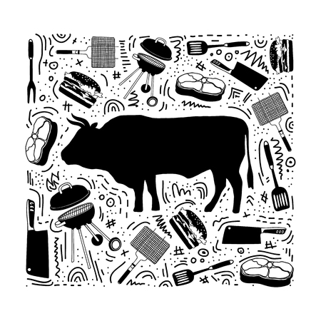 Isolated bull silhouette and icons: beef, steak, grill, meat knife, barbecue for butcher shop, farmer market. Design template poster for steak, meat business, meat shop. Naive hand style. Vector. Иллюстрация