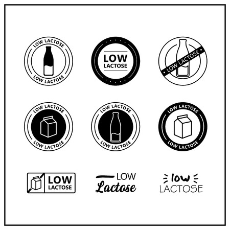 Low lactose icons on white background. Low lactose drawn isolated sign icon set.