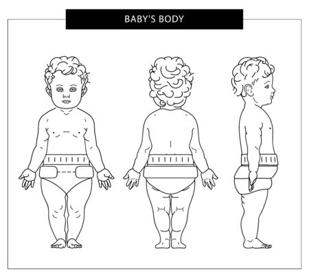 Baby from all sides: front, back and side in diapers. Vector outline illustration. Vector. Çizim