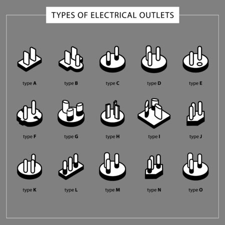Different types of outlets. Illustration with a line, outline composition from a set of different sockets and power plugs. Vector illustration. - Vector.