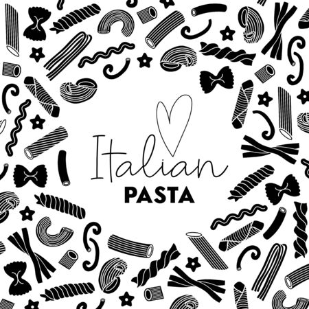 Black and white template for design, advertisement, emblem, flyer, frame, graphic, packaging with painted heart and text: Italian pasta. Different types of macaroni and pasta. Design elements in thin line style. Vector illustration. Çizim