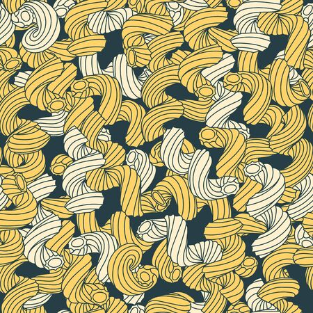 Beautiful seamless pattern of traditional italian pasta shapes. Different types of macaroni. Vector pattern. Vintage hand drawn illustration. Vector illustration. Cavatapi pasta.