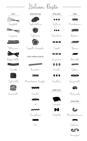 Pasta collection. Set of different types. Vector outline illustration.-Vector. Types of traditional italian pata: spaghetti, fettuccine, fusilli, bucatini, farfalle, rigatoni, lasagne and vermicelli.