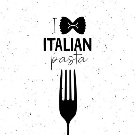 Black and white clipart for T shirt poster banner typography design packaging with hand drawn lettering I love Italian pasta. Sketch inscription. Vector illustration. Çizim