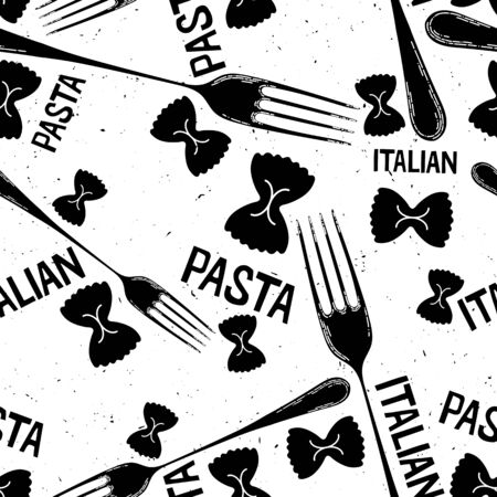 Different types of pasta seamless pattern background. Seamless pattern of traditional pasta shapes. Different types of macaroni. Vector illustration.
