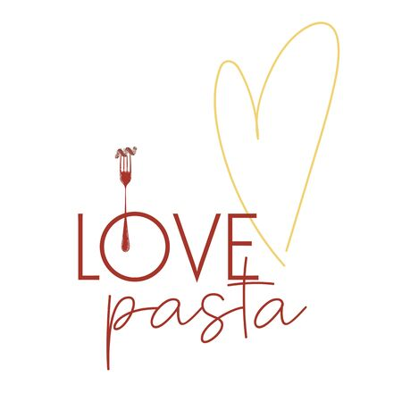 Clipart for T shirt poster banner typography design packaging with hand drawn lettering I love Italian pasta. Colorful sketch inscription. Vector illustration. Çizim