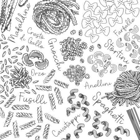 Pasta collection. Illustration of different types of pasta. Vector outline illustration.-Vector. Types of traditional italian pata: spaghetti, fettuccine, fusilli, bucatini, farfalle, rigatoni, lasagne and vermicelli.