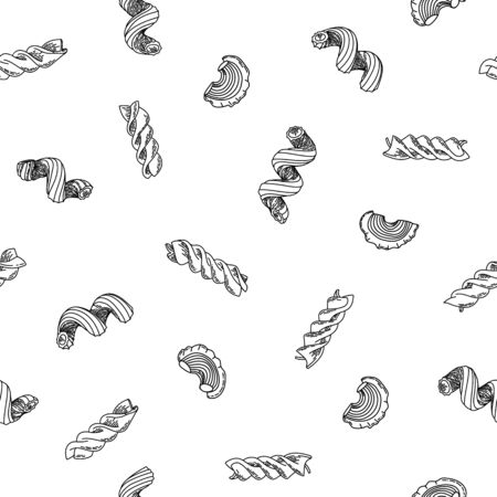 Beautiful seamless pattern of traditional italian pasta shapes. Different types of macaroni. Vector pattern. Vintage hand drawn outline illustration. Vector illustration. Monochrome composition.