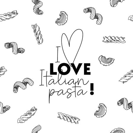 Black and white template for design, advertisement, emblem, flyer, frame, graphic, packaging with painted heart and text: I love Italian pasta. Design elements in thin line style. Vector illustration.