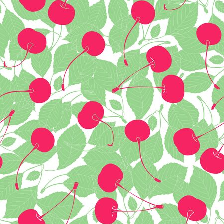 Color pattern with cherries. Beautiful vector illustration with berry and leaves. Flat illustration. Ornamental composition for use on fashion clothing, fabric design, printed products, gift wrapping.