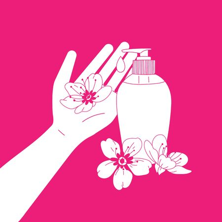 Beautiful illustration about wash handswith hand, aroma and fragrant liquid soap and flowers. Color vector illustration how to avoid the virus, infection, disease and pandemic. Çizim