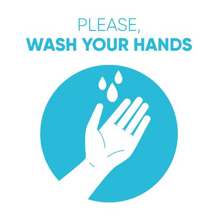 Illustrated poster,  with text Please, wash your hands Color vector illustration how to avoid the virus, infection, disease and pandemic. Çizim