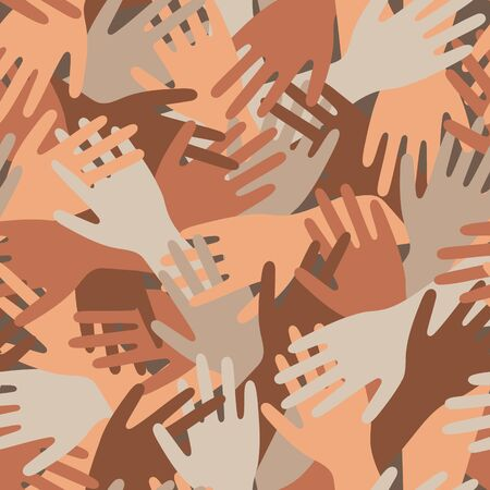 Pattern with hands with different skin color and nationality. Pattern of friendship of peoples all over the world. Vector illustration. A pattern about friendship and help.