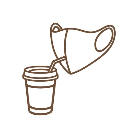 Icon of a cup of coffee and a medical mask. Coffee to go and quarantine. Vector illustration how to avoid the virus; infection; disease and pandemic.