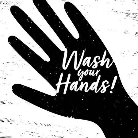 Wash your hands quote Vector illustration. Hand drawing illustration. Иллюстрация