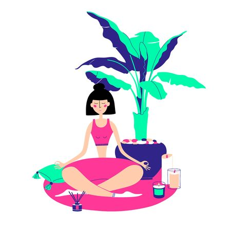 A girl sits in a meditation pose. Covid-19 virus in air. Staying home with self quarantine. Flat illusstration. Concept vector illustration for yoga, meditation, relax, recreation, healthy lifestyle