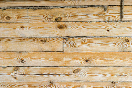 polished wood: Wooden wall of the house, the boards of polished wood, and insulation gaps between the logs, twigs. Stock Photo
