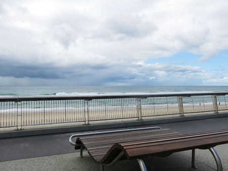 wood bench: wood bench with the beach