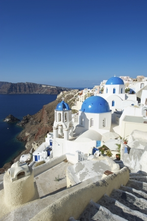 santorini greece: Santorini Greece Oia Village Blue Church Dome Steps