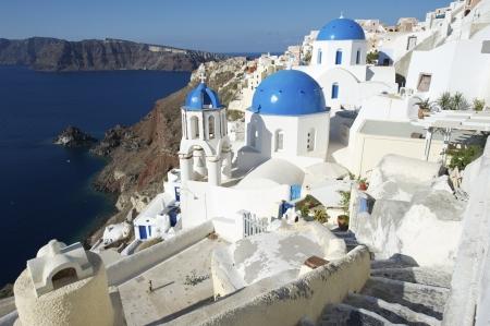 santorini greece: Santorini Greece Oia Village Blue Church Dome Architecture Caldera View
