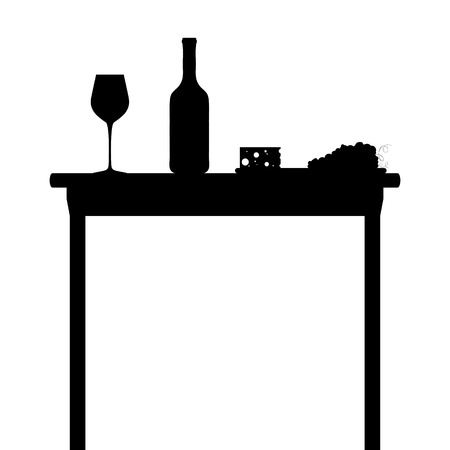 glasse: Silhouette of table with bottle of wine, wine glasse, grapes and cheese Illustration