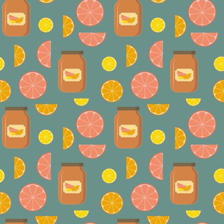 grapefruits: Seamless pattern of lemons, oranges, grapefruits and banks of citrus jam on blue area.