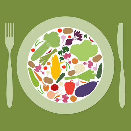 plate: Plate with multicolored vegetables