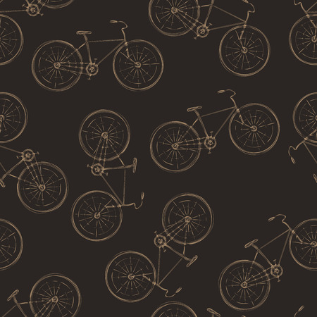 colores calidos: Seamless pattern of vintage bikes in warm colors Vectores
