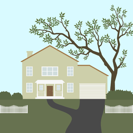 fense: Image of house with white fense and green tree.