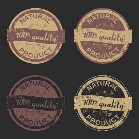 certainty: Vector set of four grunge signs Natural Product consists of two bicolored emblems and two monochrome stamps for your design projects. Fully editable. May be used in advertising and packaging design. Illustration