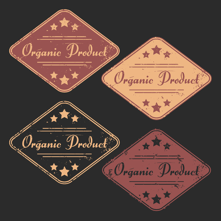 certainty: Vector set of four grunge signs Organic Product consists of two bicolored emblems and two monochrome stamps for your design projects. Fully editable. May be used in advertising and packaging design.