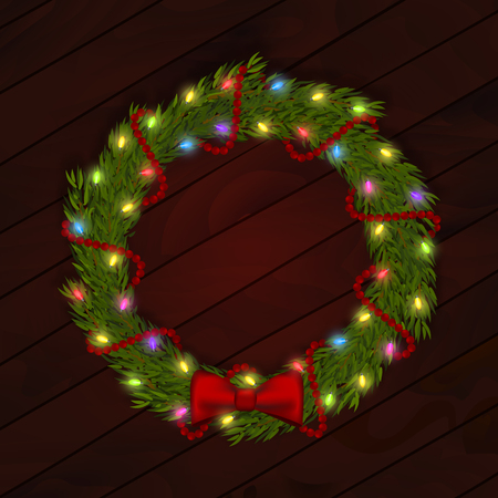 Cute vector illustration of Christmas wreath with fir branches, multicolored garland and red decorative bow and beads on wooden background. Can be used in design of cards. EPS 10 file. Fully editable.