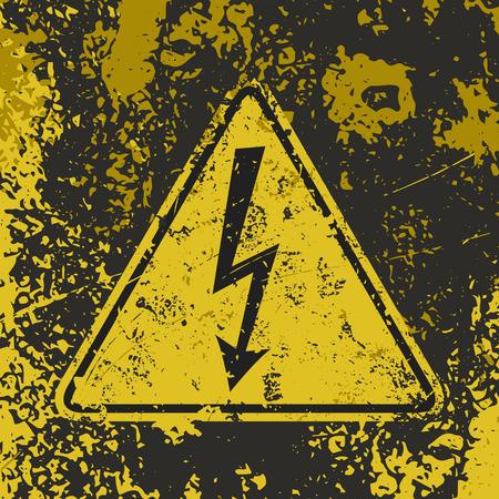 """그런 지 포스터 """"높은 전압""""입니다. 벡터 일러스트 레이 션의 """"높은 전압""""더러운 grunge 노란색과 검은 색 배경에 서명. 포스터, 벽지, 티셔 일러스트"""