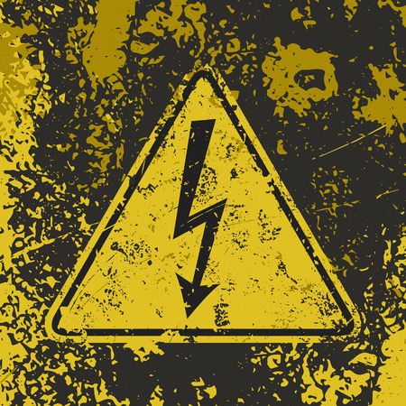 voltage gray: Grunge poster High voltage. Vector illustration of High voltage sign on grunge dirty yellow and black background. It can be used as a poster, wallpaper, t-shirts design. Fully editable. Illustration