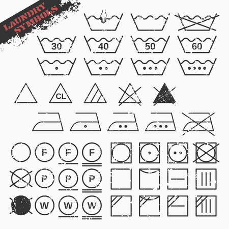 tumble drying: Vector illustration of landry symbols set. 45 isolated grunge icons. Fully editable file for your projects. Illustration