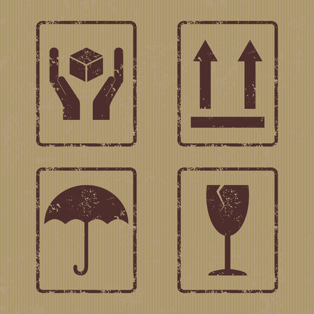 this: Vector collection of four grunge icons consists of Handle With Care, This side up, Keep Dry and Fragile. Fully editable packaging signs set on carton backdrop for your projects.